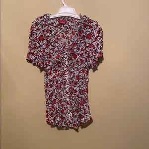 Sunny Leigh heart blouse women medium short sleeve